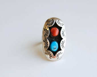 Vintage Navajo sterling turquoise coral shadow box statement ring / large oval Native American double stone / silver sun ray unisex size 9