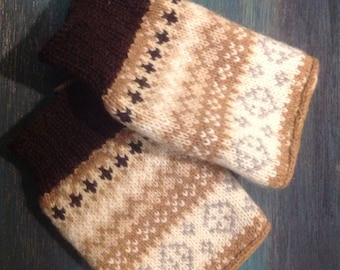 "Fingerless Gloves, Fingerless Wrist Warmers,Grey brown Fingerless Mittens, Gloves, Women's Gloves, typing gloves ""Beige Lace"""