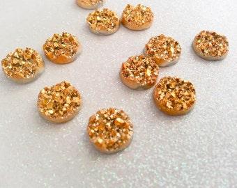 12mm Metallic Gold Chunky Faux Druzy Cabochon - 10 pcs: 12-DRUZ-M01