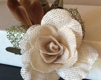 Burlap rose boutonniere