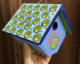 """Birdhouse Indoor-Outdoor Handpainted """"Blue Starburst"""""""