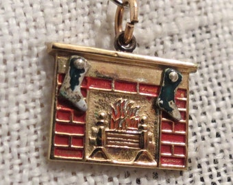 Fireplace Stockings Christmas Sterling Silver & Enamel ~ Gold Plated Charm
