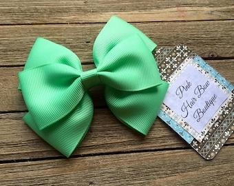 Mint green hair bow , 4 inch hair bow , mint boutique hair bow , toddler hair bow , hair bows for girls