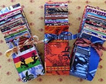 """West African Fabric Strip Roll (2.5"""" x 44"""") of 40 different 100% cotton fabrics"""