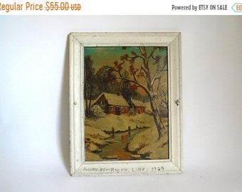 Sale - Antique c. 1929 Signed American Folk Art Painting by Ralph Link - Cottage on Stream in the Winter Woods