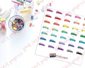 60 Rainbow Mini Cooper Auto Stickers for Erin Condren, Plum Paper, Kikki K Life Planners