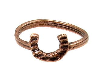 Birdhouse Jewelry  -  Tiny Horseshoe Ring in Antique Pink Gold
