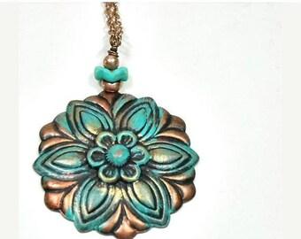 Sale| Flower Pendant Necklace, Stamped Copper Verdigris Patina Floral Pendant, Rustic, Art Deco, Long Layering Necklace Set, Bohemian Neckla