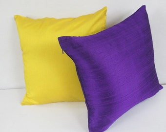 lemon yellow dupioni silk pillow cover.  bright yellow silk  pillow. decorative cushion cover 18 inch throw pillow.  in  stock  2 pcs