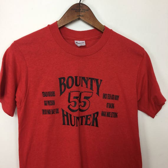 Vintage T-Shirt Luoto Logging Red Stedman Super 50 Made in USA 50/50 Poly Cotton Fd0hID1