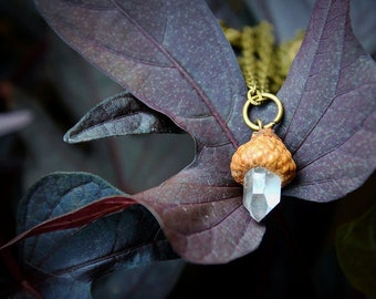 Quartz Crystal Acorn Necklace