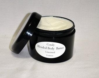Unscented – Blended Body Butter – 8 oz. – Body Butter – Shea Butter – Butter – Whipped Body Butter – Whipped Shea Butter – Hand Cream