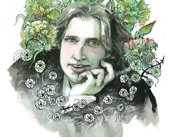 Oscar Wilde author portrait, green carnations, illustration portrait print in multiple sizes