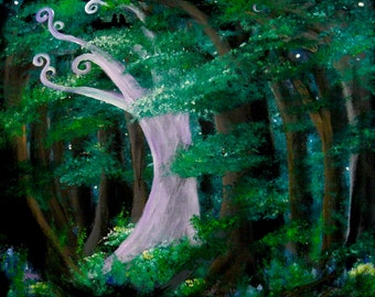 Secret Grove print, image of original artwork, fairy tale, enchanted forest, white tree