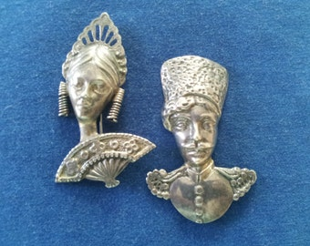 Vintage Sterling Figural Brooches Pins Russian Couple