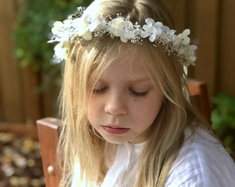 Ivory Floral Crown, Flower Girl Wreath, First Communion Tie back