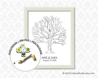 Guestbook Ink Pad Package - Hand Drawn Wedding Guest book Fingerprint Tree Print Poster - Thumbprint Guest Book - Canvas or Paper