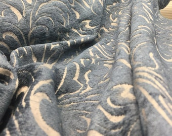 Blue chenille Raised Upholstery Fabric Italian cut by the yard Multipurpose