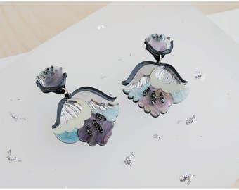 Nouveau Flower Drop Earrings: Mother-of-Pearl. Laser Cut Acrylic Perspex. Marbled Floral Art Deco Retro Dangle Studs. Silver Blue Glitter.