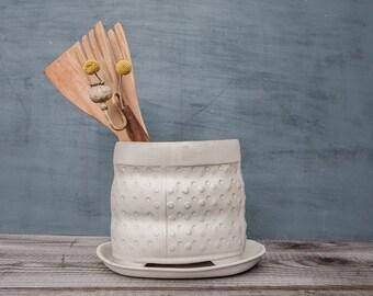 White Ceramic utensil holder, polka dot pattern vase , modern kitchen utensil holder,  large Utensil , Brush Holder, kitchen crock
