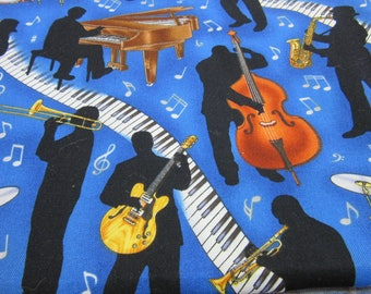 Fabric Musical Instruments Band 38x44 inches Cotton Piano Drums Guitar Trombone Trumpet Notes Keys DIY Sew Aprons Quilt Singing Music Sewing