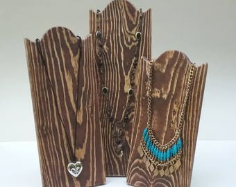 Necklace Stands Rustic Wood Necklace Display Distressed Brown Reclaimed Wood Take Down Design for Craft Shows or Home Wooden Display Board