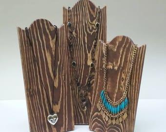 Panneau d'affichage collier Stands présentoir à collier en bois rustique vieilli marron bois de récupération prenez vers le bas de conception pour les salons d'artisanat ou de la maison en bois