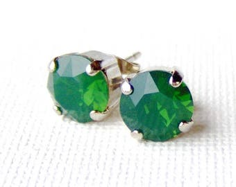 Green opal rhinestone stud earrings / palace green opal / Mothers day gift for her / 8mm / Swarovski crystal / girlfriend gift / unique gift
