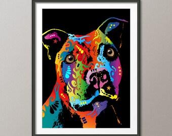 Staffordshire Bull Terrier Dog, Art Print (120)