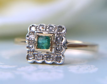 Art Deco 14ct Yellow Gold  Diamond and Emerald Delicate Square Ring - Art Deco dress ring - Deco Engagement Ring - Antique Engagement Ring