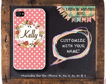 Preppy Polka Dot iPhone Case, Floral iPhone Case, Monogram iPhone Case, iPhone 8, 8 Plus, iPhone 7, 7 Plus, iPhone 6, 6s, 6 Plus, 5, 5s, 5c
