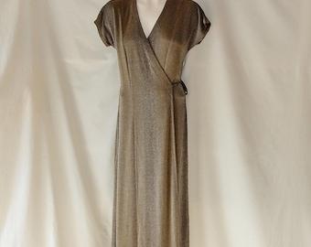 Sz 8 10 Stretch Maxi Wrap Dress - Rabbit Rabbit Rabbit Designs - 1970s - Brown Black Fleck Print - Tall Long Modest Floor Length - Made USA