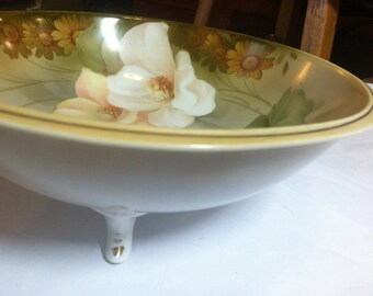 "RS Germany Bowl, Vintage Hand-painted, footed, mint condition 7 1/2"" diameter, FREE SHIPPING"