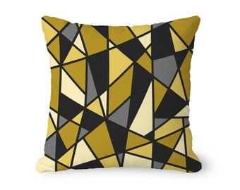 Geometric pillow cover, mustard yellow pillow with black, throw pillow cover, modern pillow, abstract pillow, decorative pillow