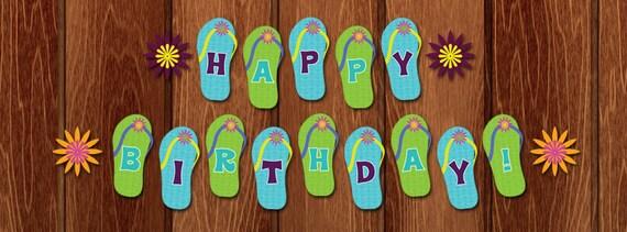 printable flip flop flower beach happy birthday banner for