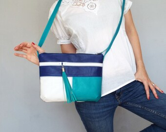 Blue turquoise white leather cross body bag. Small leather tassel purse.