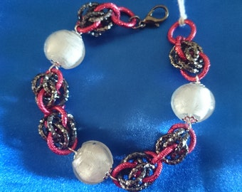 Technical chain mail bracelet murano stones