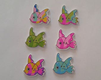 6 Wooden Fish  Buttons - #SB-00371