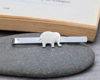 Elephant Tie Clip In Solid Sterling Silver, Wedding Tie Clip, Personalized Tie Clip, Handmade Gift For Man, Handmade In England