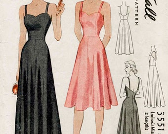1930s 30s vintage lingerie sewing pattern sweetheart neckline plunge back evening slip dress bust 32 34 36 38 repro reproduction