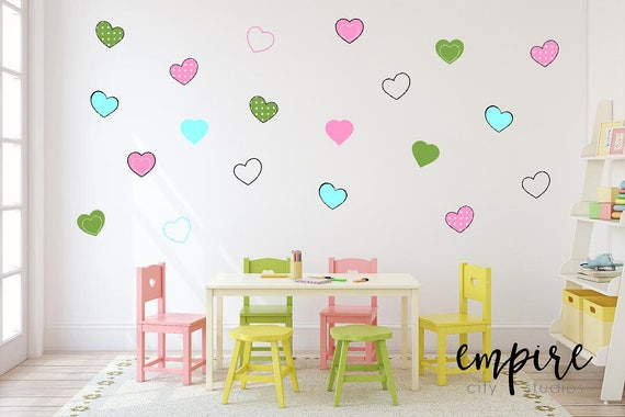 Cute Hearts Wall Decal-Mini Heart Vinyl Decals-Girls Wall Decor-Girls Vinyl Decals-Cartoon Hearts-Heart Outlines