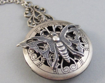 Scented Butterfly,Locket,Silver,Apothecary,Choose Your Scent,Butterfly Locket,Butterfly Neckalce,Lavender,Rose,Diffuser, valleygirldesigns.