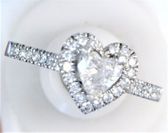 Romantic Heart Shaped Wedding Fit Diamond Ring In Palladium.