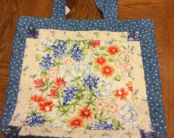 Quilted Tote Bag - BLUEBONNETS!