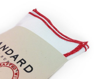White Pocket Square surged with Red Trim