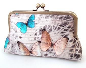 Butterflies clutch bag, silk purse, wedding accessory, bridal bag, bridesmaid gift, gift box, woodland wedding