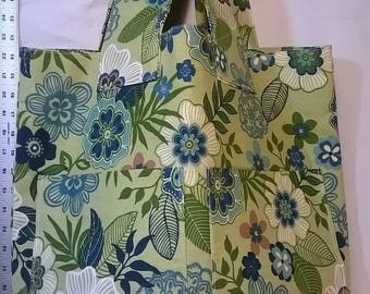 Green and Blue Utility Tote w/Yellow Vinyl Bottom