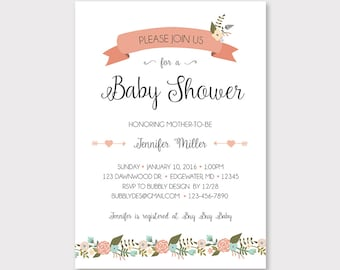 Baby Shower Customizable Invitation for a Girl // Floral & Rose Baby Shower Invite // Downloadable Printable Invitation