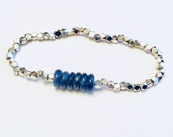 AA Kyanite heishi and and silver spacer bead bracelet