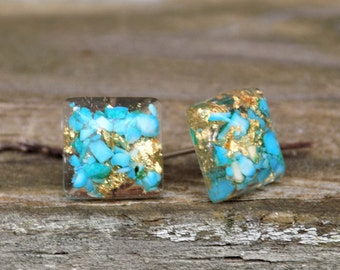 Stone and Gold Leaf Earring Studs, Post Earrings, Gemstone, Turquoise Magnesite, Jewelry, Jewellery, Gift for her,